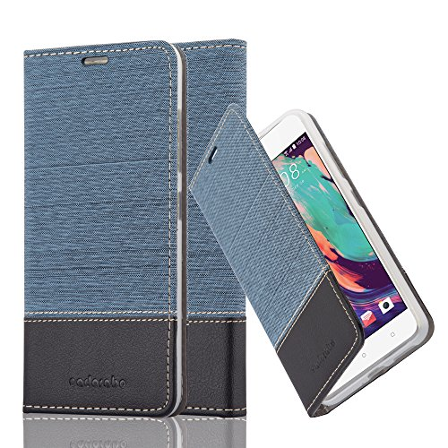 Cadorabo Book Case Works with HTC Desire 10 PRO in Dark Blue Black - with Magnetic Closure, Stand Function and Card Slot - Wallet Etui Cover Pouch PU Leather Flip