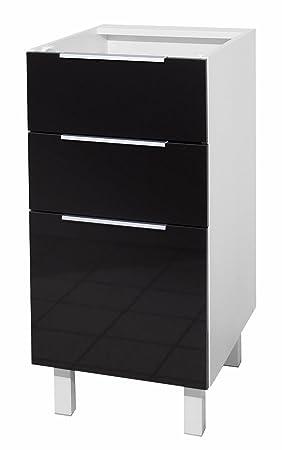 berlenus ct4bn meuble bas de cuisine avec 3 tiroirs noir haute ... - Meuble Bas Cuisine 3 Tiroirs