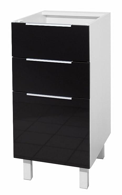 Berlenus CT4BN - Mobile da cucina basso, 3 cassetti, 40 cm, colore ...