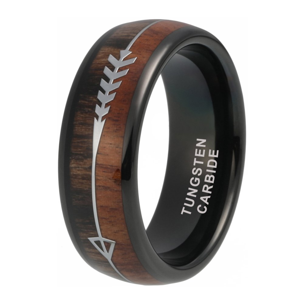 iTungsten 8mm Black Tungsten Carbide Rings for Men Women Wedding Bands Koa Wood Arrow Inlay Engagement Hunting Ring