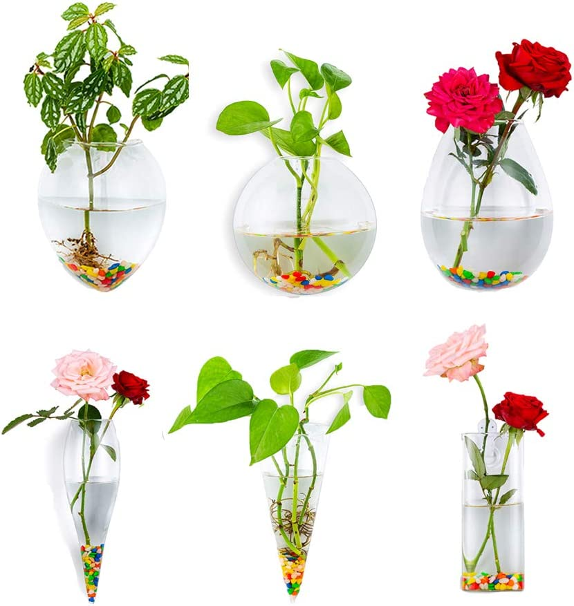 6Pcs/Set Wall Hanging Glass Planters Plant Pots Terrarium Container Indoor Outdoor for Home Garden Office Wedding, 1#, Gift: 6.3oz Colorful Stone
