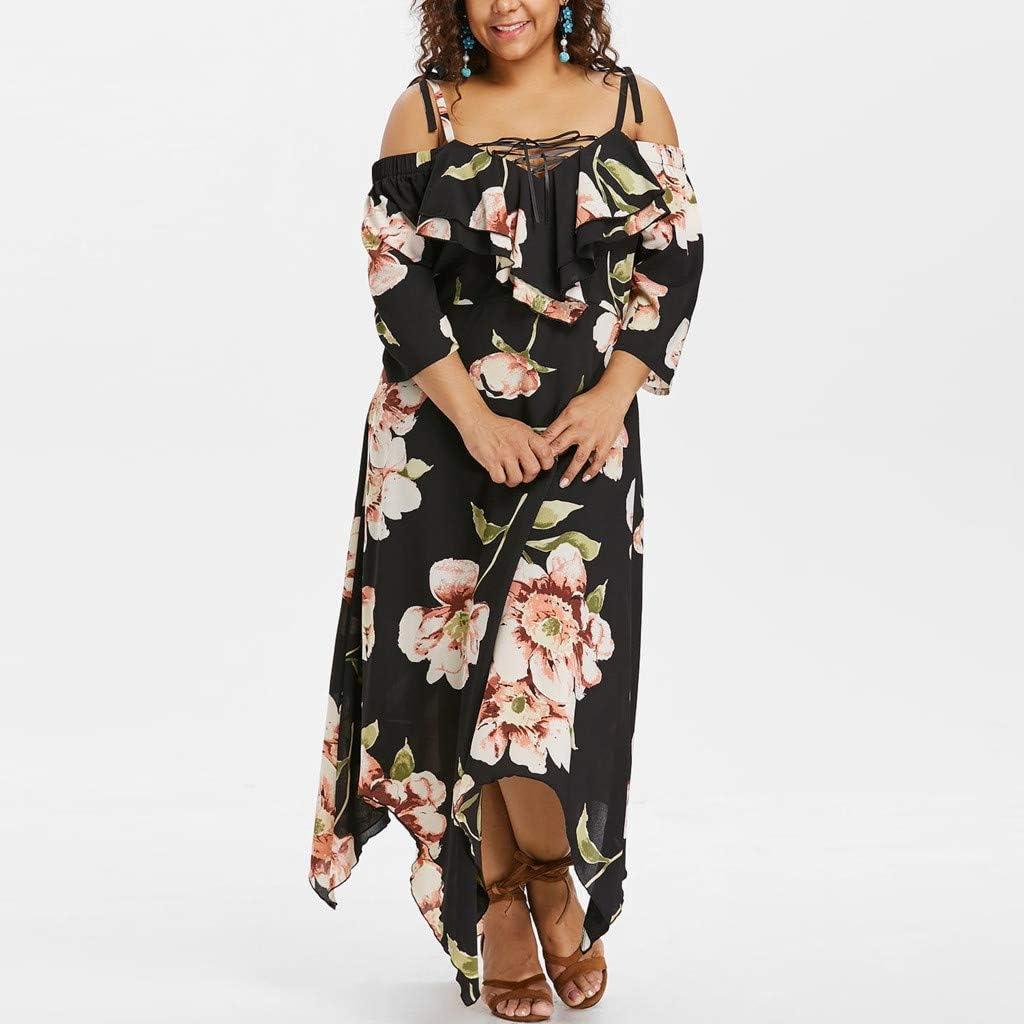 LISTHA Boho Cold Shoulder Maxi Dresses Plus Size Women Floral Long Sleeve Dress