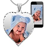 PicturesOnGold.com Personalized Photo Engraved Heart Shaped Custom Photo Pendant/Photo Necklace/Photo Charm with Diamond Cut