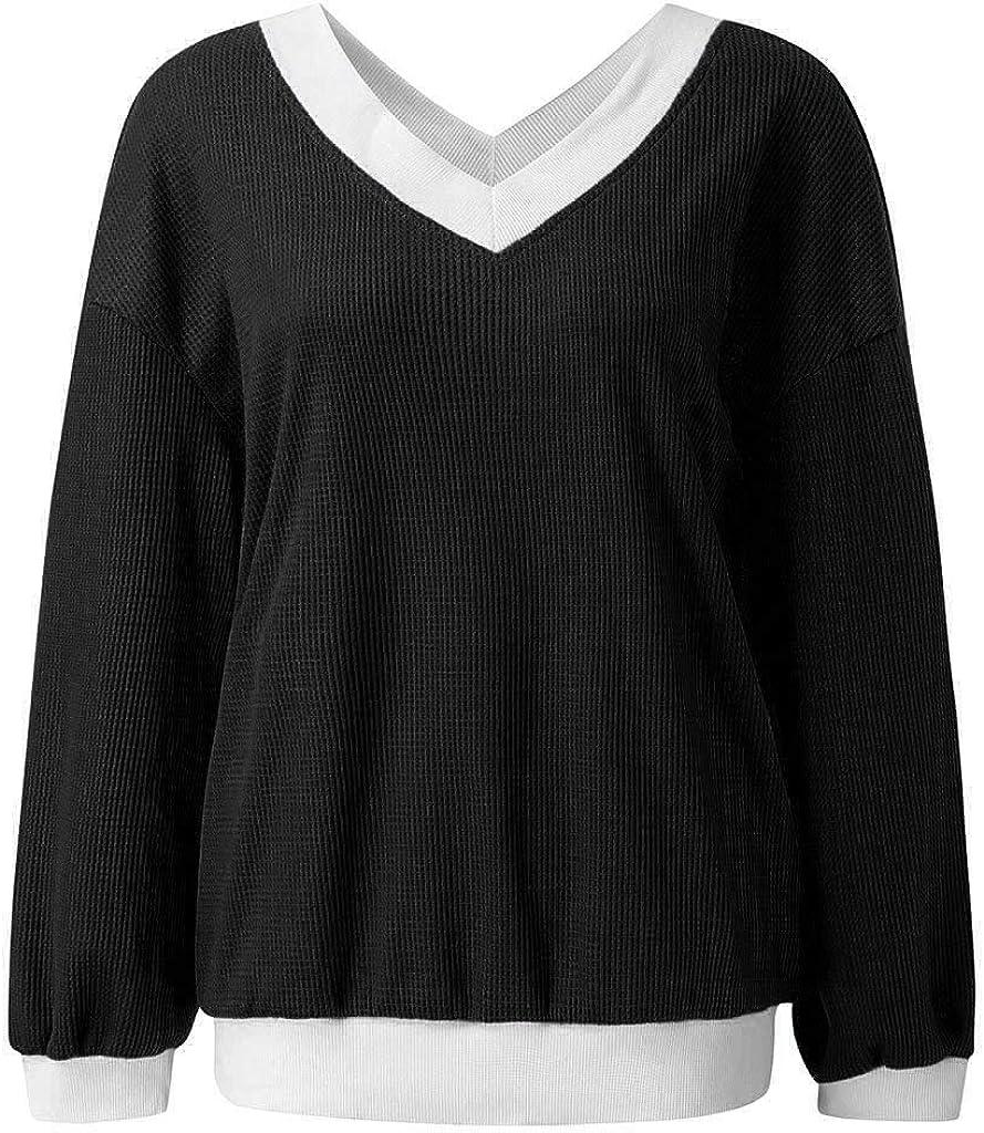 Miuye yuren-Women Fashion Warm Pullovers Drop Shoulder Long Billowed Sleeves Loose Shirts Thermal Waffle Knit Tops