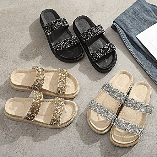 Bright Wearing Single Fashion Word Thick Summer Beach women Towing Students Bottom With Casual Muffins Shoes A Black slippers zn8PHXpwqw