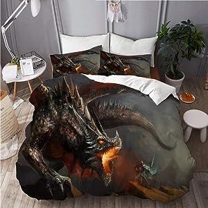 Haveia Microfiber Lightweight Duvet Cover Sets,Monster Spitfire,Decorative 3D Print Bedding Set with 2 Pillow case King Size