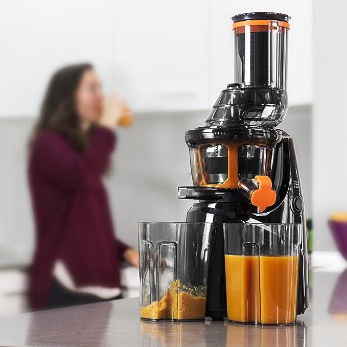 Mastercheff Licuadora de prensa fría para frutas y verduras. Extractor de jugo con canal XL para fruta entera. Velocidad de 45 rpm y potencia de 250 W. BPA ...
