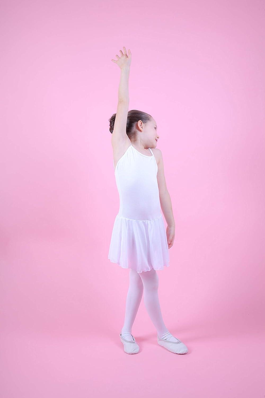 aus weicher Baumwolle mit Chiffon R/öckchen f/ürs Kinder Ballett tanzmuster /® Ballettkleid M/ädchen /ärmellos Maggie