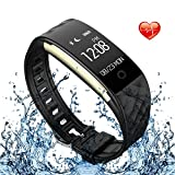 HYON Fitness Tracker with Heart Rate Monitor Activity Tracker Waterproof Smart Bracelet Sport Bluetooth Kids Fitness Tracker for iPhone 6 6s 7 7plus 8 X Samsung Galaxy S8 Android Phone (Black)