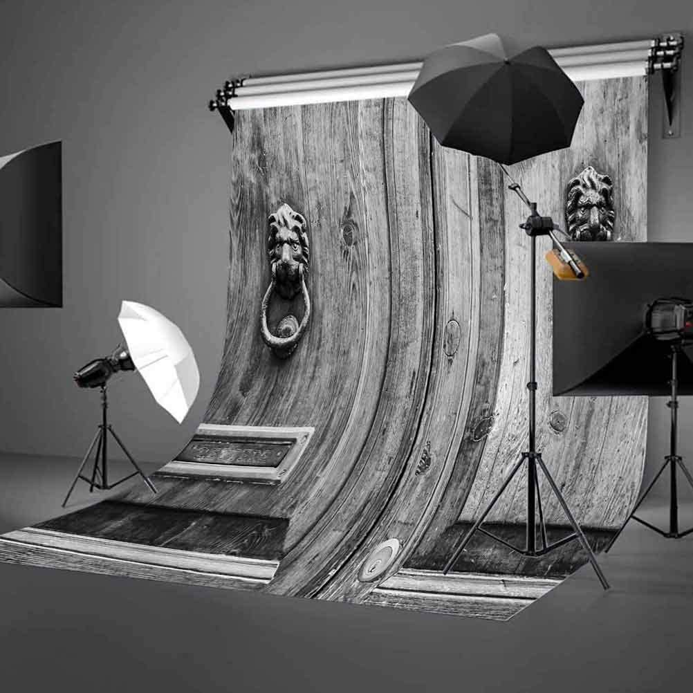 10x15 FT Photography Backdrop Black and White Photography of Tuscany House Doorway Florence with Lion Head Handlers Background for Photography Kids Adult Photo Booth Video Shoot Vinyl Studio Props