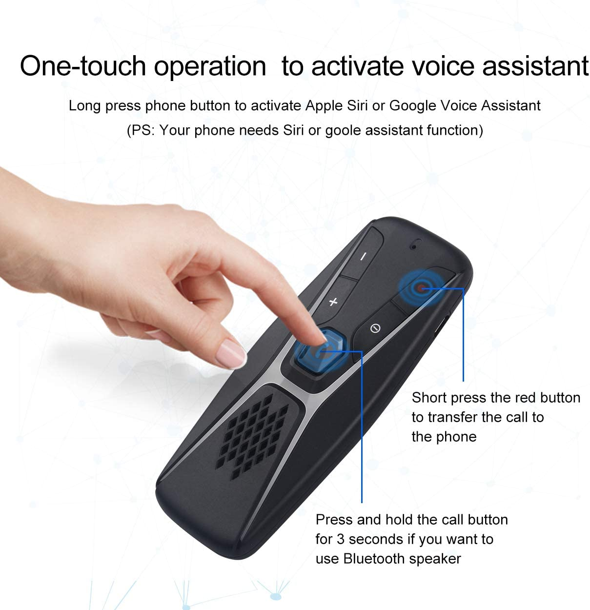 USB Cable Charging Hands Free Bluetooth Adapter for Cell Car Phone Intelligent Noise Reduction Vibration Power On Function with Voice Dialing Supports 2 Mobile Phones Connected at The Same Time