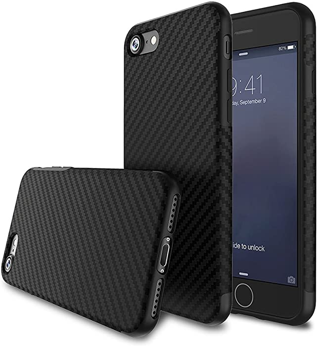 L-FADNUT for iPhone 5S Case/iPhone SE 2016 Case, [Carbon Fiber Lines] TPU Silicone Ultra Slim Back Case,Shock Absorbing Bumper Protective Case Cover for Apple iPhone 5/5S/SE 2016 Black