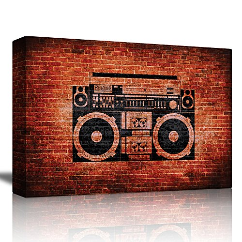 wall26 - Old School Stereo on a Brick Wall with Vignette Background - Canvas Art Home Decor - 16x24 -