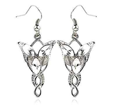 fb1938e20f4ad Lord of the Rings Elven Princess Arwen Evenstar Crystal Earrings(Silver)