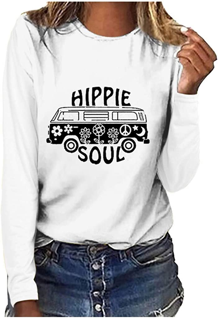 Hurrybuy Plus Size Sweatshirt for Women Tops Cute Graphic Hipple Soul Tees Shirt Long Sleeve Blouse Pullover
