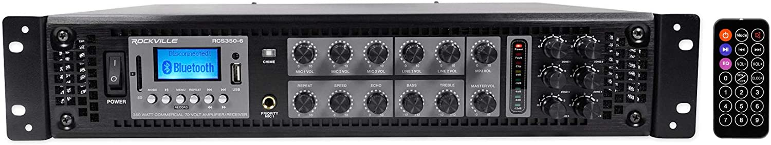 Rockville RCS350-6 350 Watt 6 Zone 70V Commercial/Restaurant Amplifier/Bluetooth
