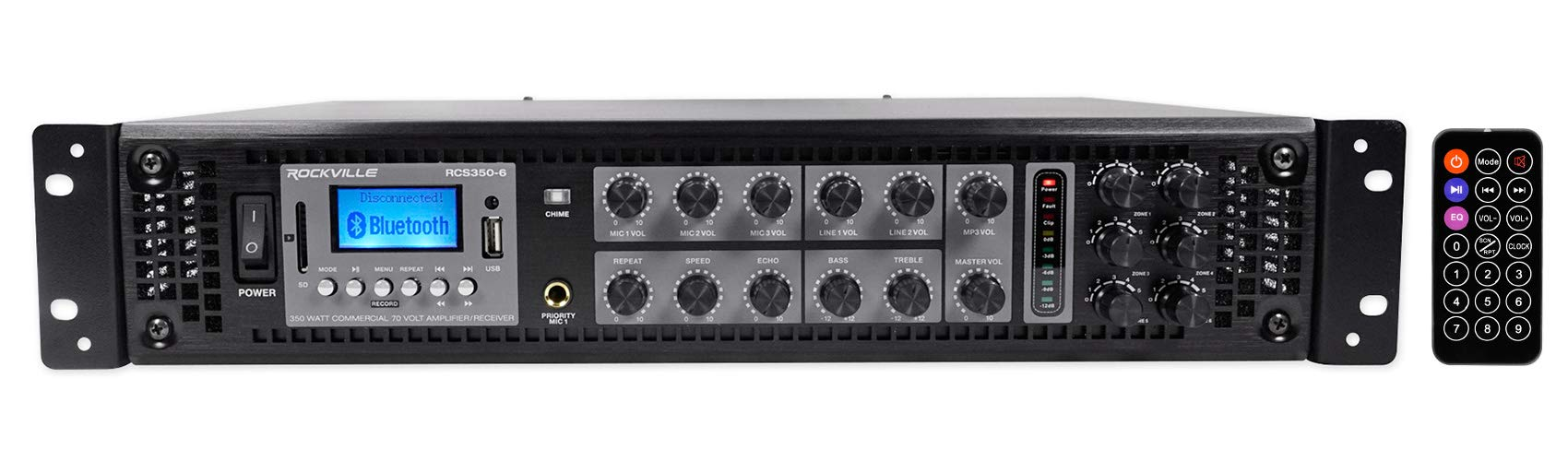 Rockville RCS350-6 350 Watt 6 Zone 70V Commercial/Restaurant Amplifier/Bluetooth