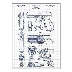 Inked and Screened Military and Weaponry Glock 17 Handgun - G. Glock - 1985 Print, White Grid - Blue Ink