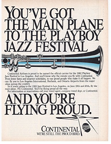 1982 Vintage Print Ad for Continental Airlines Jazz Festival in Los Angeles (Best Jazz In Los Angeles)