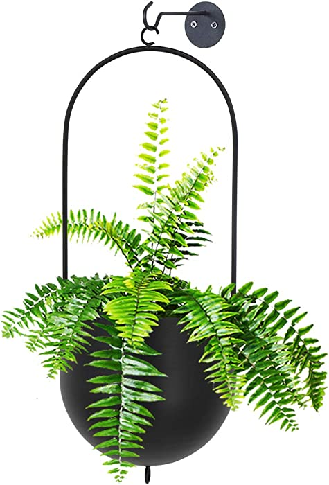 FUNME Modern Black Hanging Oval Metal Plant Holder Flower Pots Hanging Indoor for Home Decor with Chain and Hook,Set of 2