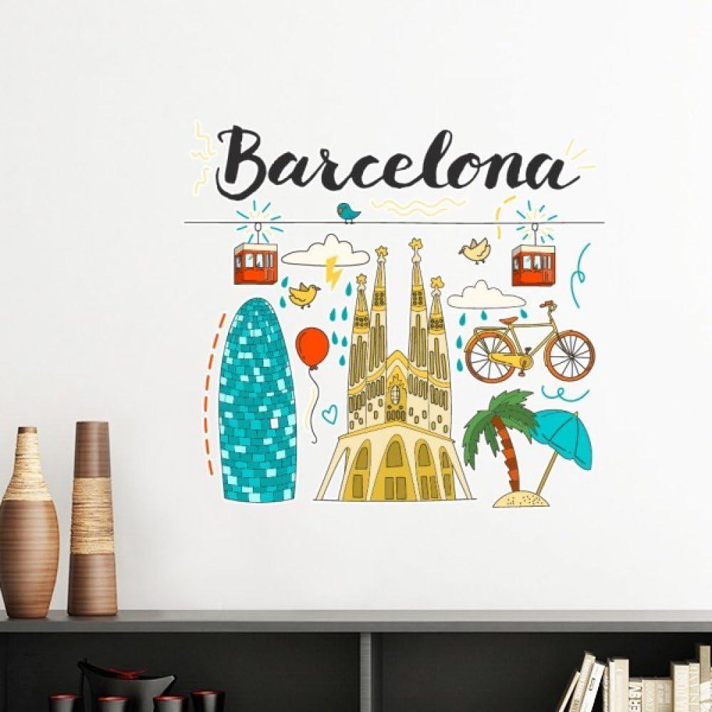 Barcelona España sagrada familia extraíble de pared Adhesivos de vinilo arte mural DIY papel pintado para habitación adhesivo: Amazon.es: Hogar