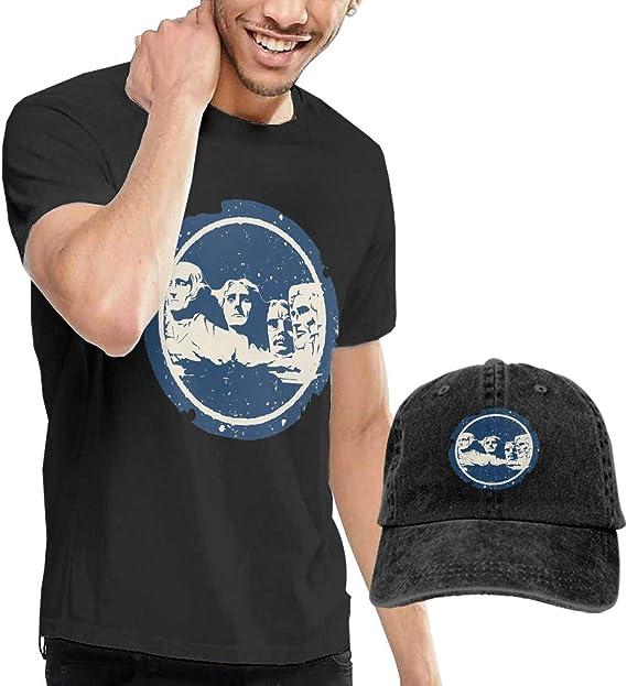 SOTTK Camisetas y Tops Hombre Polos y Camisas, Mount-Rushmore Mens Short Sleeve T Shirt & Washed Adjustable Baseball Cap Hat: Amazon.es: Ropa y accesorios