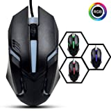 KUIYN 1000 DPI RGB Gaming Mouse with Changing Colours (Black)