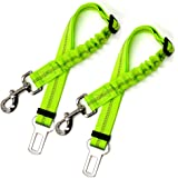 Dog Car Seat Belt (2 Pack) - Safety Fluorescent Green, Adjustable Elastic Dog Extendable Leash
