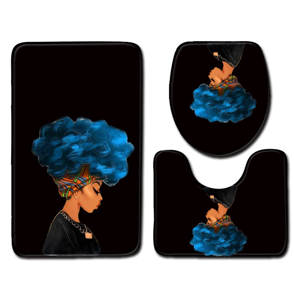 Afro Black Woman with Blue Hair Skidproof Toilet Seat Bathroom Floor Mat Pedestal Rug + Lid Toilet Cover + Bath Mat 3 Piece