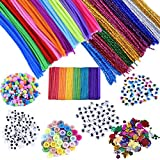 EpiqueOne 1090pc. Kids Art & Craft Supplies Assortment Set for School Projects, DIY Hobby Kit; Chenille Pipe Cleaners, Pom Po