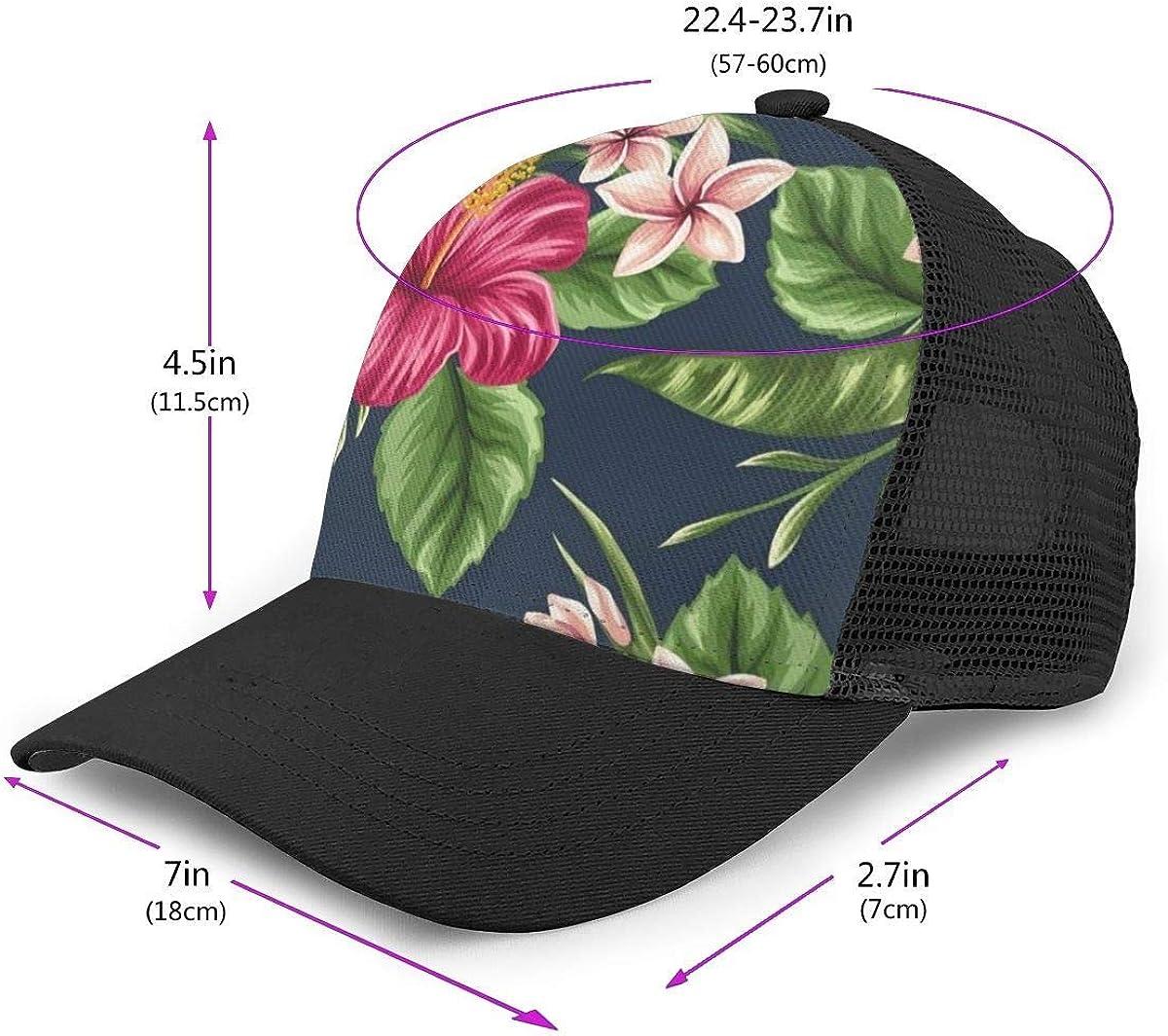 Tropical Hawaii Fleurs et Plantes Femmes Hommes Casquette De Baseball R/églable Trucker Mesh Uni Chapeaux 6 Panneaux Casquettes Polo Style Papa Chapeau Unisexe Noir