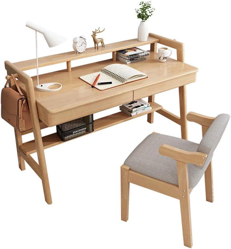 AJH Bureau à Domicile Table et chaises en Bois Massif Meubles pour Enfants Meubles en Bois Robustes Poste de Travail Bureau en Bois pour Enfants et Adultes Natural