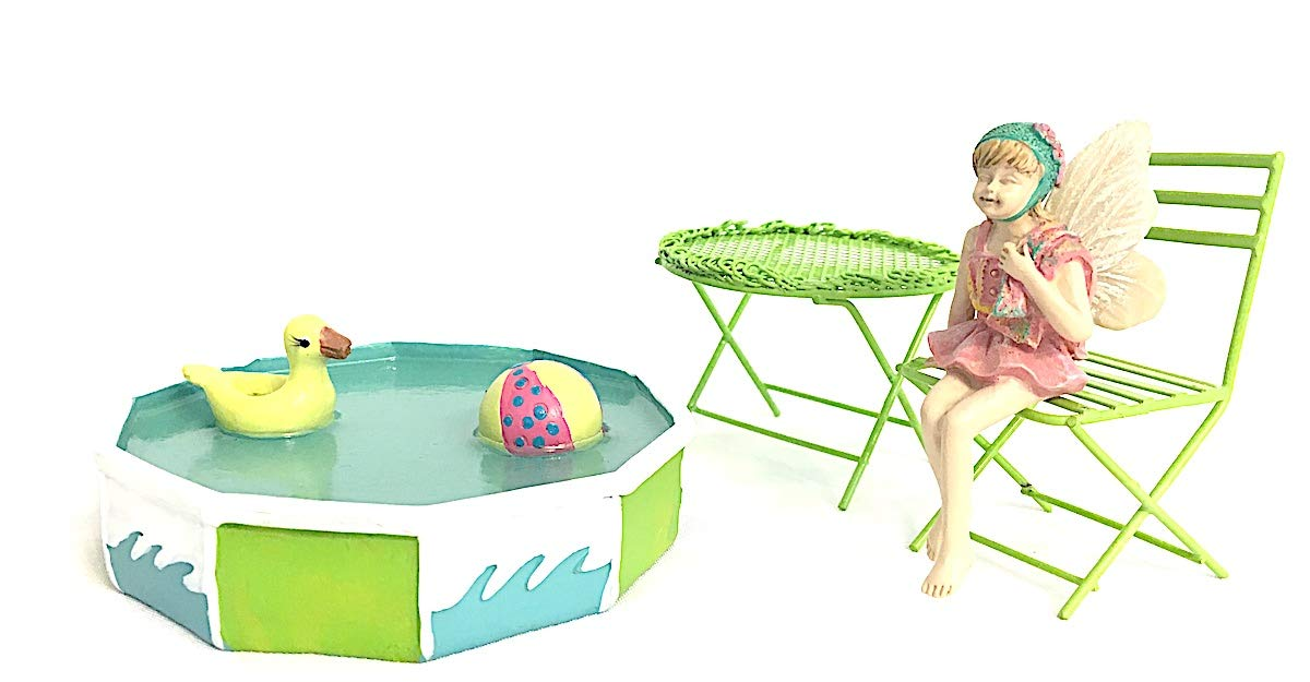 Snickerdoodle Smalls Miniature Fairy Garden Swimming Pool with Metal Chair & Table Set, Plus Sitting Fairy in Swim Suit