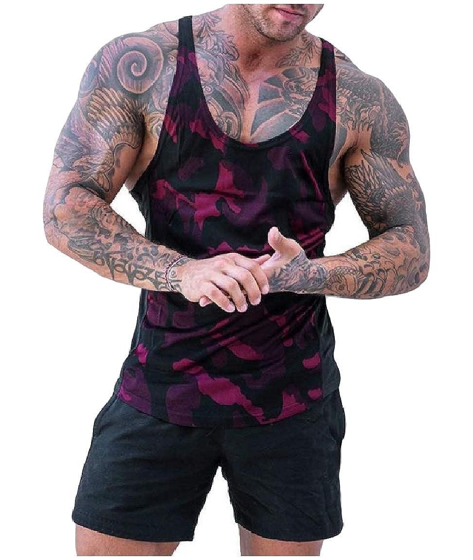 Mfasica Mens Camouflage Color Print Patchwork Plus Size Vests Tank Top