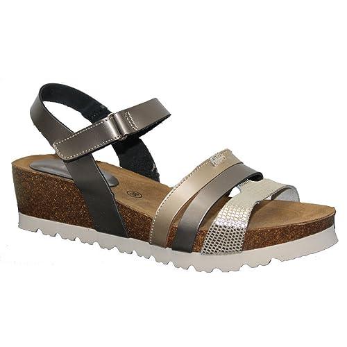 d4106516231 Sandalia Bio Velcro CUÑA 5 CMTS. 41 Platino  Amazon.es  Zapatos y  complementos