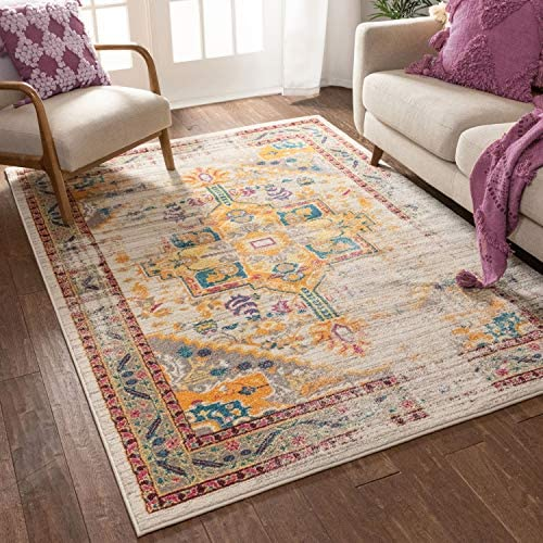 Vintage Heriz Floral Medallion Traditional Multi Color Beige Fuscia Orange Yellow 5×7 5'3″ x 7'3″ Area Rug