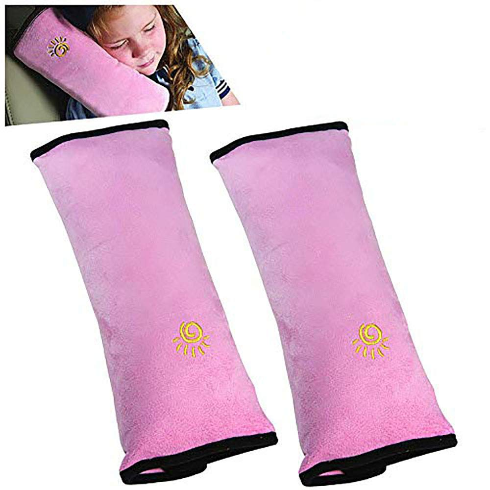2PC Seat Belt Pillow for Kids, Car Seat Pillow Neck Rest for Kids, Kids Travel Pillow for Car Seat, Kids Seatbelt Pillow, Toddler Infant Safety Support Shoulder Flat Pad, Seat Belt Strap Covers in Car