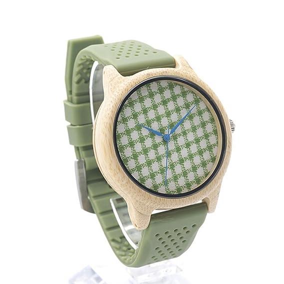 Personalizado grabado madera de bambú impresión patrón relojes movimiento de cuarzo japonés reloj regalo para las mujeres niñas: Amazon.es: Relojes