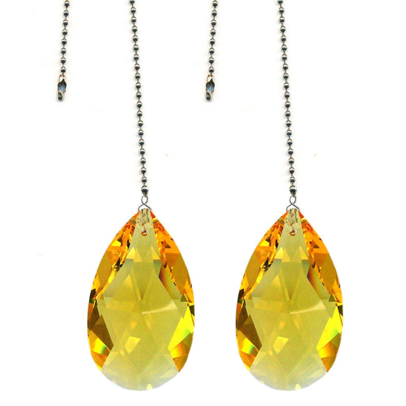 CrystalPlace Ceiling Fan Pull Chain Swarovski Strass Light Topaz Crystal Almond Prism Fan Pulley Set of 2