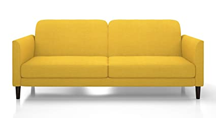 Urban Ladder Felicity Fold Out Three Seater Fabric Sofa Cum Bed (Yellow)
