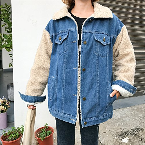 Cotton Paragraph Clothing Cotton Thick Denim Autumn Short Women Winter Stitching Clothing Jacket Loose Xuanku blue Warm qwSPxffR