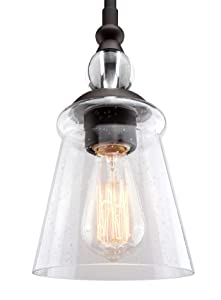 "Kira Home Glory 5.5"" Industrial Hanging Pendant Ceiling Light, Seeded Glass Shade, Adjustable Length, Oil-Rubbed Bronze Finish"