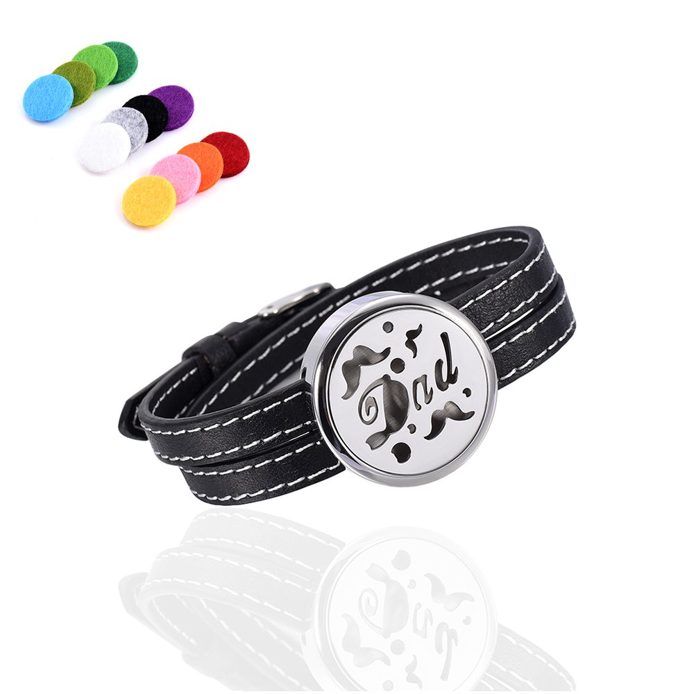 Adjustable Genuine Leather Band Bracelet Aromathrapy Jewelry Essential Oil Diffuser Fragrance Cuff Bangle Constanlife Jewelry 0016