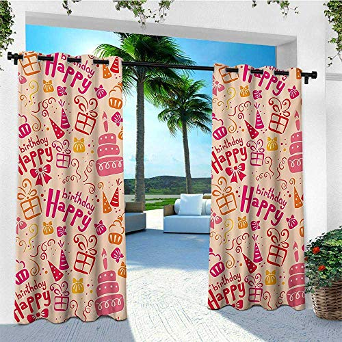 (leinuoyi Kids Birthday, Outdoor Curtain Ends, Present Party Themed Cakes Cone Hats Swirls Work of Art Print, for Patio Waterproof W96 x L108 Inch Pink Orange and Hot Pink)