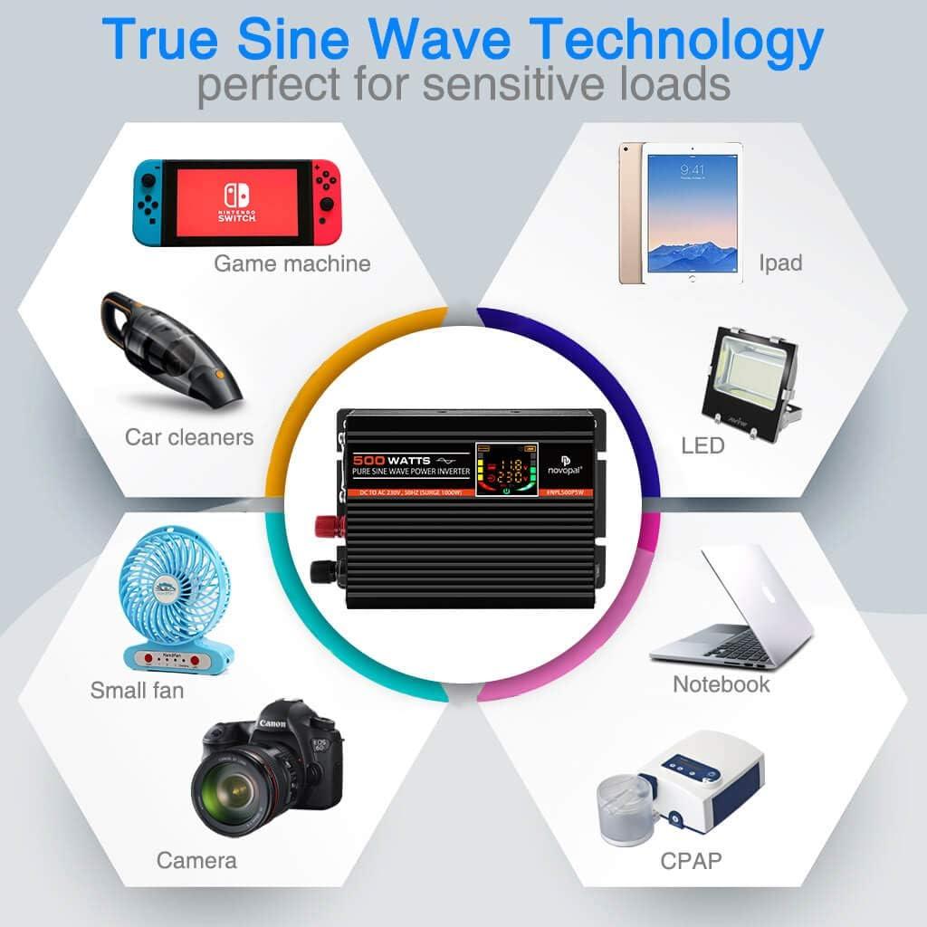 con display LCD Invertitore di potenza a onda sinusoidale pura convertitore da 1 AC potenza di picco 1000 Watt 500 Watt con doppia porta USB 12 V DC a 230 V//240 V AC
