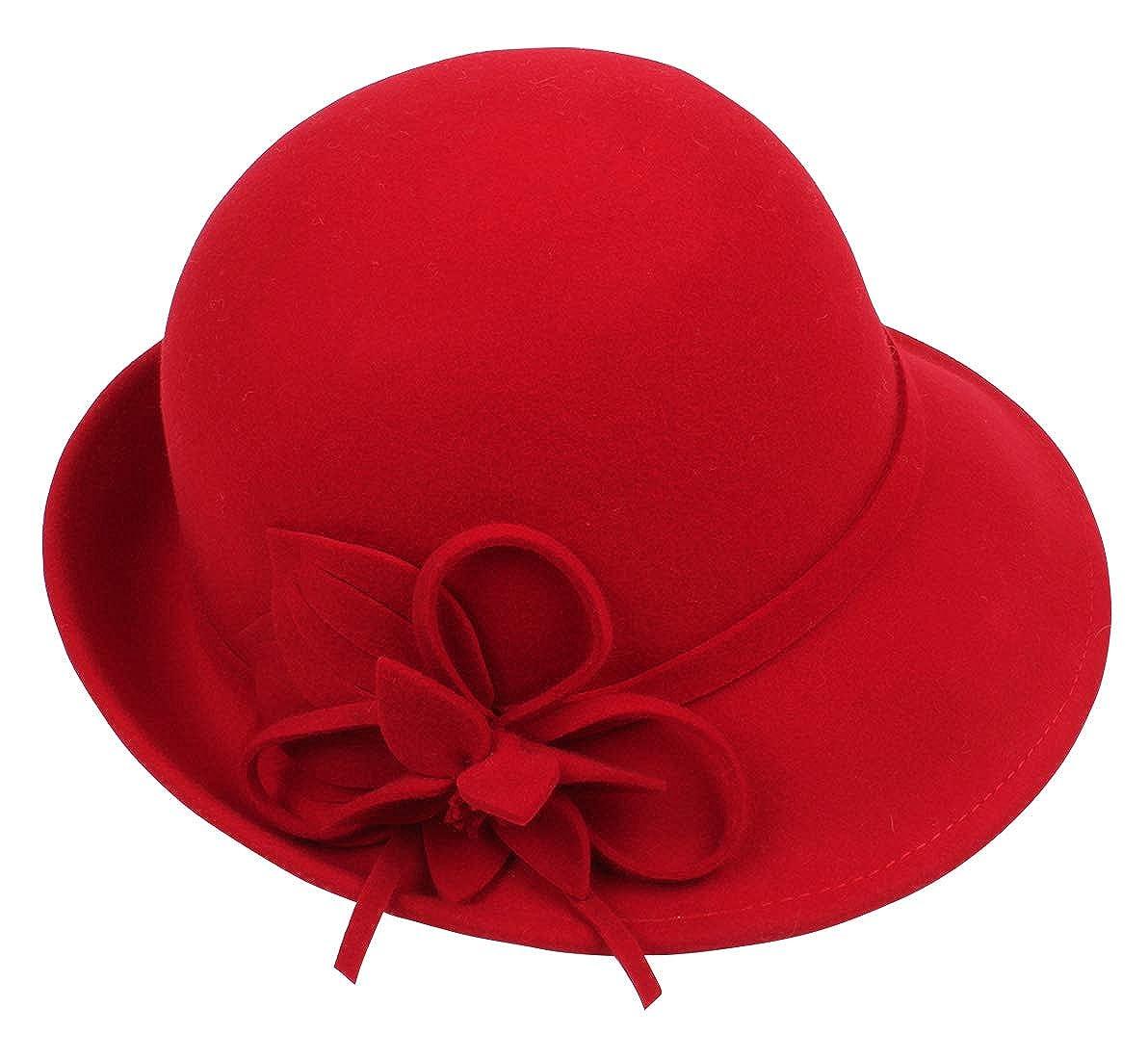 FEOYA Women Vintage Retro Felt Bowler Hat Solid Floral Belt Cloche Bucket Hat Fedoras Caps for Party Travel OJFS1070