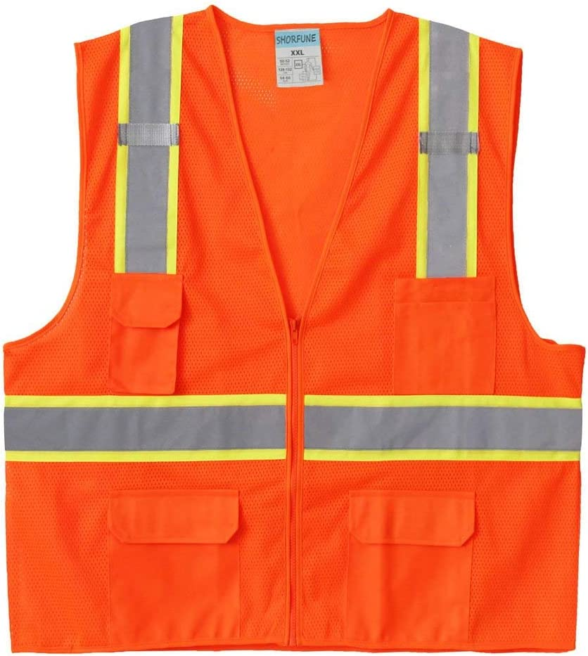 SHORFUNE High Visibility Safety Vest with Pockets, Mic Tabs, Zipper and Reflective Strips, Meets ANSI/ISEA Standards, Orange, M