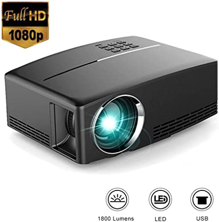 Mengen88 HD proyector de vídeo, HD LED LCD Multimedia película proyector para Cine en casa/al Aire Libre, 1800 Lumen 1080P 40/135 Pulgadas de proyección de Apoyo HDMI/VGA/AV/DC-in/2x USB: Amazon.es: Hogar