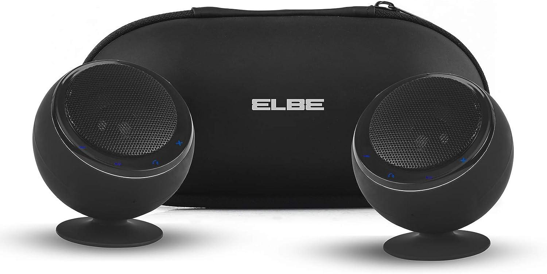 Elbe ALT-41ES-BT - Pack de 2 Altavoces portátiles (estéreo, Bluetooth, 6 W) Color Negro