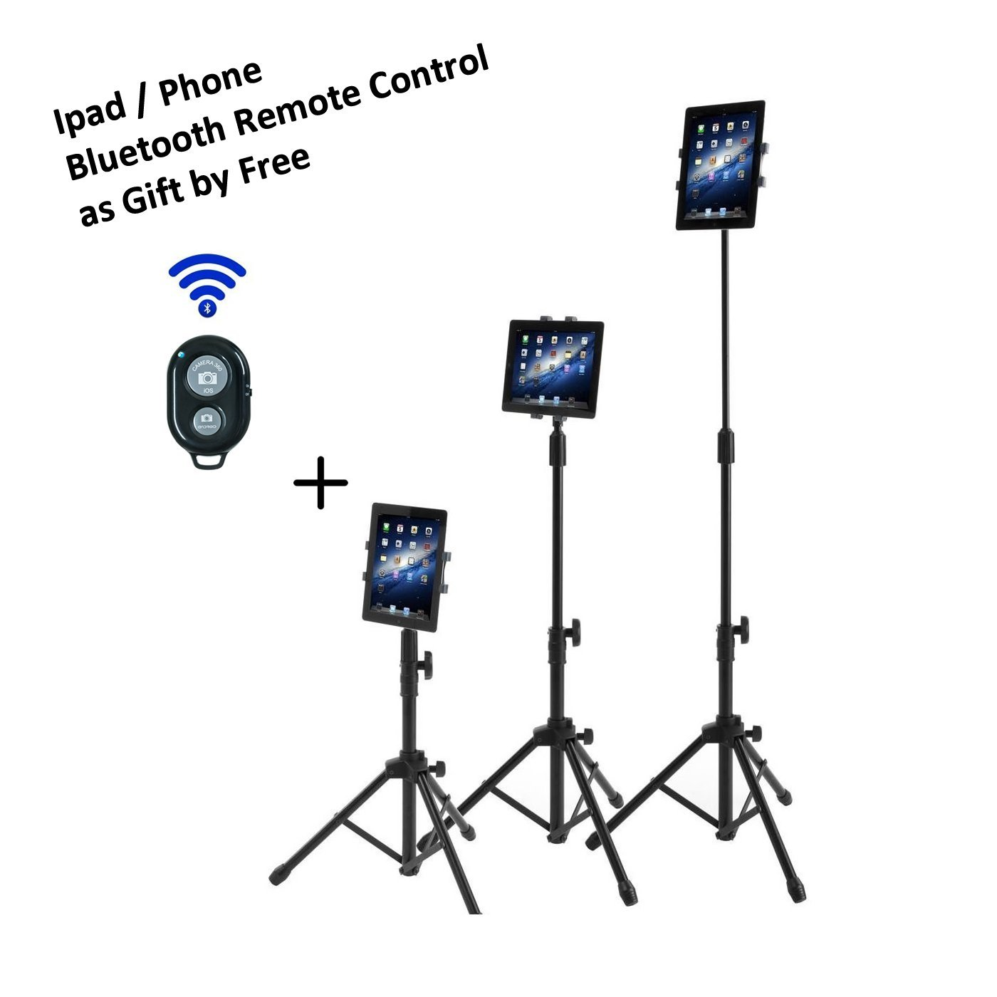 Ipad Tripod Mount Floor Stand, Vstyle Height Adjustable 20 to 60 Inch Tablet Tripod Stand Mount For Ipad ,Ipad Mini and Others Within 7-10 Inch (Classic Tripod+Bluetooth Remote Control) by VSTYLE